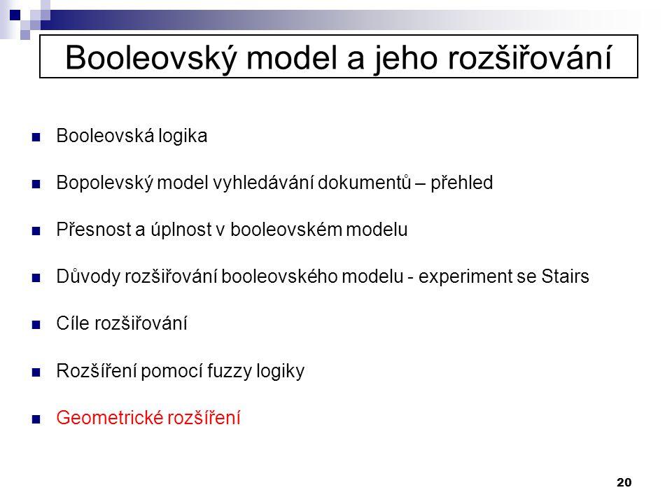 20 Booleovský model a jeho rozšiřování  Booleovská logika  Bopolevský model vyhledávání dokumentů – přehled  Přesnost a úplnost v booleovském model