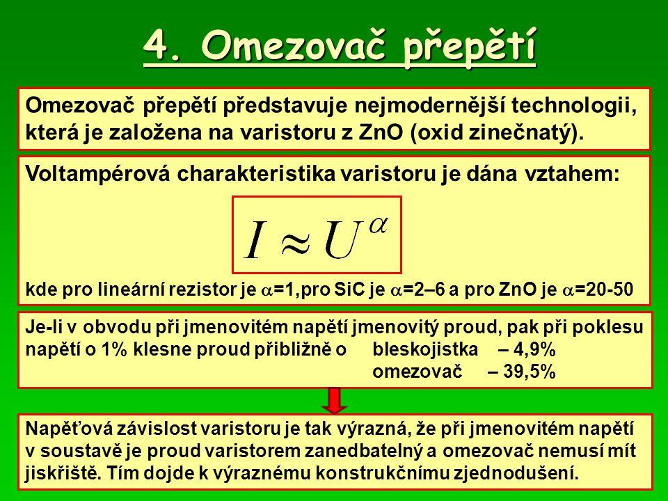 4. Omezovač přepětí Omezovač přepětí představuje nejmodernější technologii, která je založena na varistoru z ZnO (oxid zinečnatý). Voltampérová charak