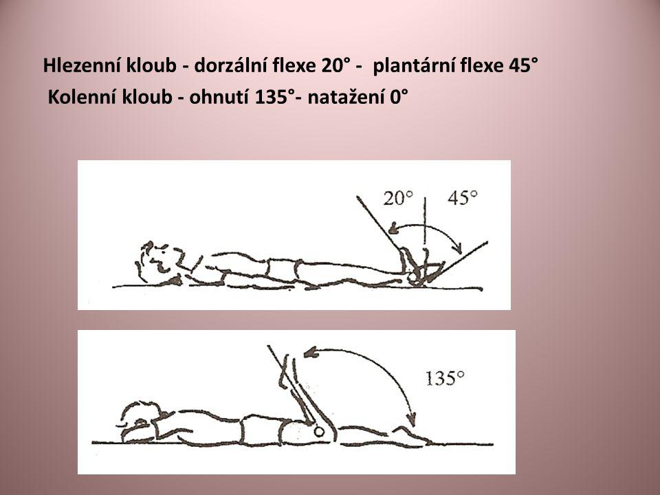 Hlezenní kloub - dorzální flexe 20° - plantární flexe 45° Kolenní kloub - ohnutí 135°- natažení 0°