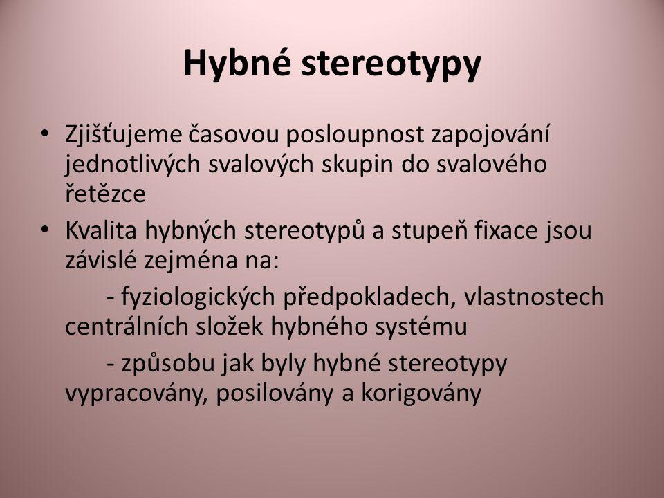 Hybné stereotypy • Zjišťujeme časovou posloupnost zapojování jednotlivých svalových skupin do svalového řetězce • Kvalita hybných stereotypů a stupeň fixace jsou závislé zejména na: - fyziologických předpokladech, vlastnostech centrálních složek hybného systému - způsobu jak byly hybné stereotypy vypracovány, posilovány a korigovány