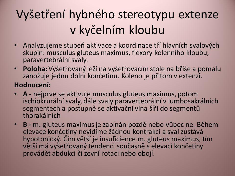Vyšetření hybného stereotypu extenze v kyčelním kloubu • Analyzujeme stupeň aktivace a koordinace tří hlavních svalových skupin: musculus gluteus maximus, flexory kolenního kloubu, paravertebrální svaly.