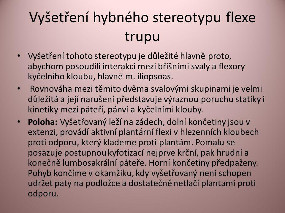 Vyšetření hybného stereotypu flexe trupu • Vyšetření tohoto stereotypu je důležité hlavně proto, abychom posoudili interakci mezi břišními svaly a flexory kyčelního kloubu, hlavně m.