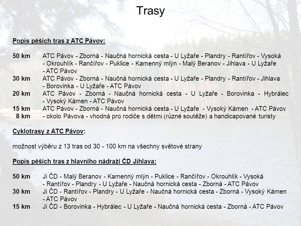 Popis pěších tras z ATC Pávov: 50 kmATC Pávov - Zborná - Naučná hornická cesta - U Lyžaře - Plandry - Rantířov - Vysoká - Okrouhlík - Rančířov - Pukli