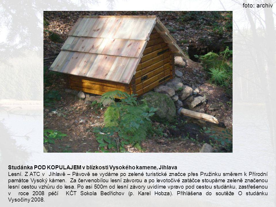 Studánka POD KOPULAJEM v blízkosti Vysokého kamene, Jihlava Lesní. Z ATC v Jihlavě – Pávově se vydáme po zelené turistické značce přes Pružinku směrem