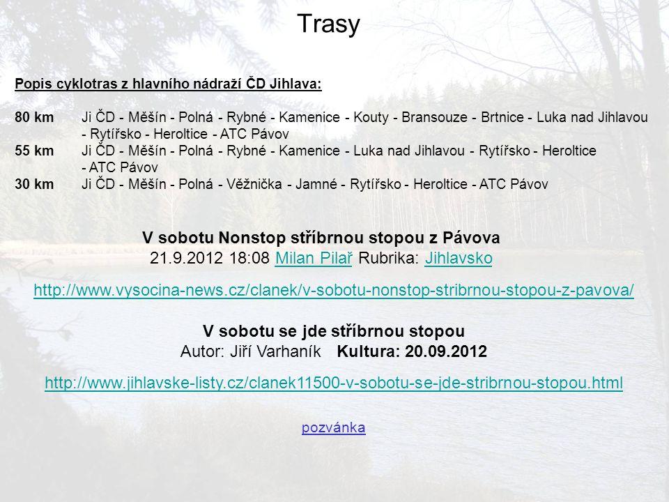 Popis cyklotras z hlavního nádraží ČD Jihlava: 80 kmJi ČD - Měšín - Polná - Rybné - Kamenice - Kouty - Bransouze - Brtnice - Luka nad Jihlavou - Rytíř