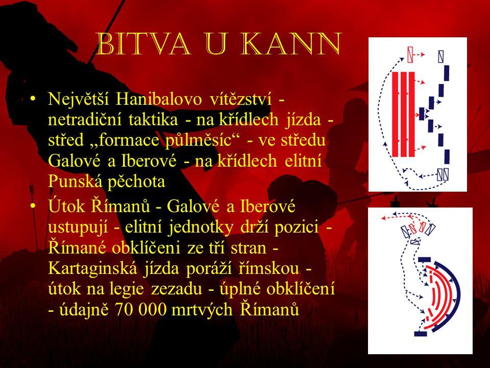 """Bitva u Kann • Největší Hanibalovo vítězství - netradiční taktika - na křídlech jízda - střed """"formace půlměsíc"""" - ve středu Galové a Iberové - na kří"""