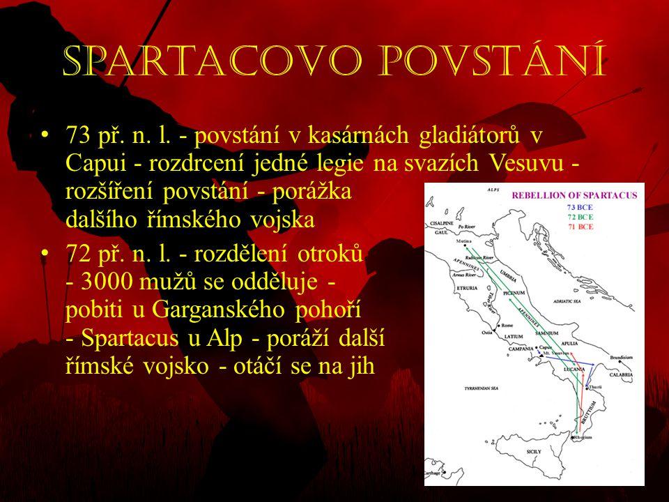 Spartacovo povstání • 73 př. n. l. - povstání v kasárnách gladiátorů v Capui - rozdrcení jedné legie na svazích Vesuvu - rozšíření povstání - porážka