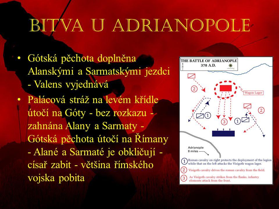 Bitva u Adrianopole • Gótská pěchota doplněna Alanskými a Sarmatskými jezdci - Valens vyjednává • Palácová stráž na levém křídle útočí na Góty - bez r
