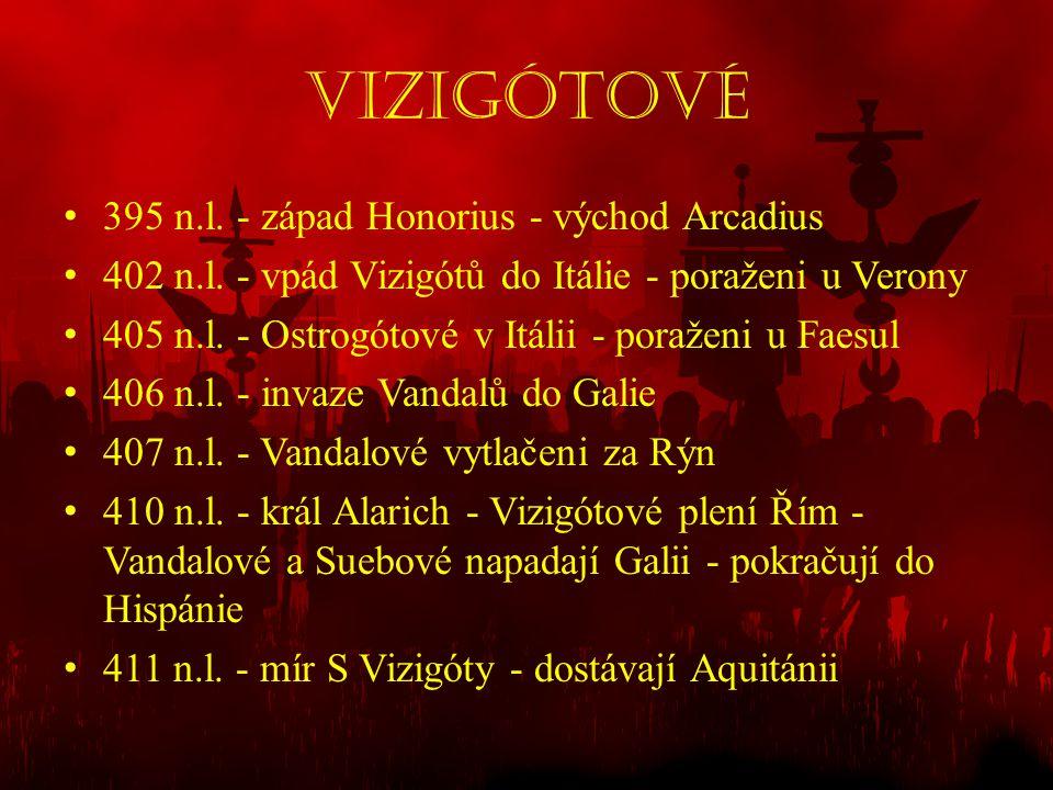 Vizigótové • 395 n.l. - západ Honorius - východ Arcadius • 402 n.l. - vpád Vizigótů do Itálie - poraženi u Verony • 405 n.l. - Ostrogótové v Itálii -