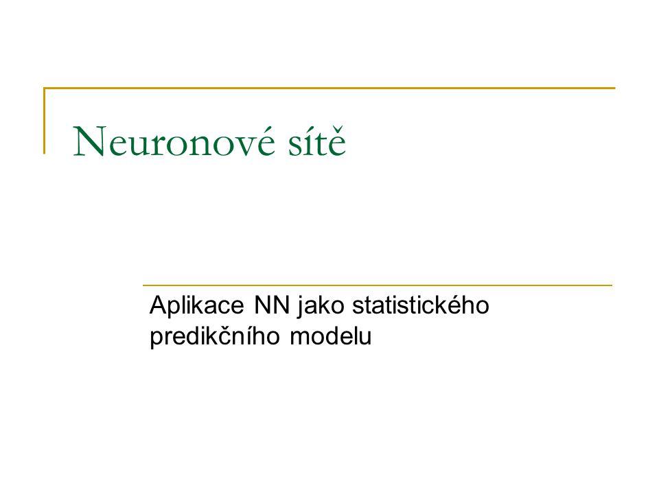 Neuronové sítě Aplikace NN jako statistického predikčního modelu