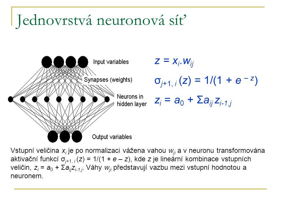 Jednovrstvá neuronová síť Vstupní veličina x i je po normalizaci vážena vahou w ji a v neuronu transformována aktivační funkcí σ j+1, i (z) = 1/(1 + e – z), kde z je lineární kombinace vstupních veličin, z i = a 0 + Σa ij z i-1,j.