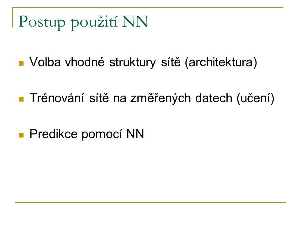 Postup použití NN  Volba vhodné struktury sítě (architektura)  Trénování sítě na změřených datech (učení)  Predikce pomocí NN