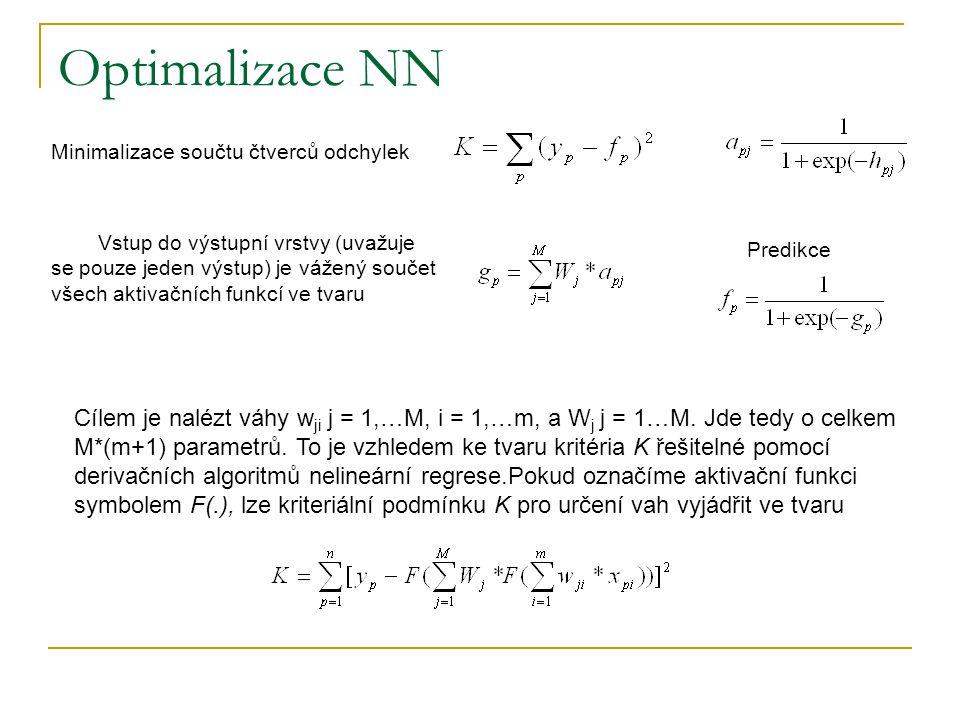 Optimalizace NN Minimalizace součtu čtverců odchylek Vstup do výstupní vrstvy (uvažuje se pouze jeden výstup) je vážený součet všech aktivačních funkcí ve tvaru Predikce Cílem je nalézt váhy w ji j = 1,…M, i = 1,…m, a W j j = 1…M.