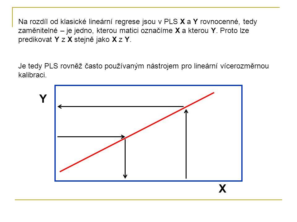 Na rozdíl od klasické lineární regrese jsou v PLS X a Y rovnocenné, tedy zaměnitelné – je jedno, kterou matici označíme X a kterou Y.