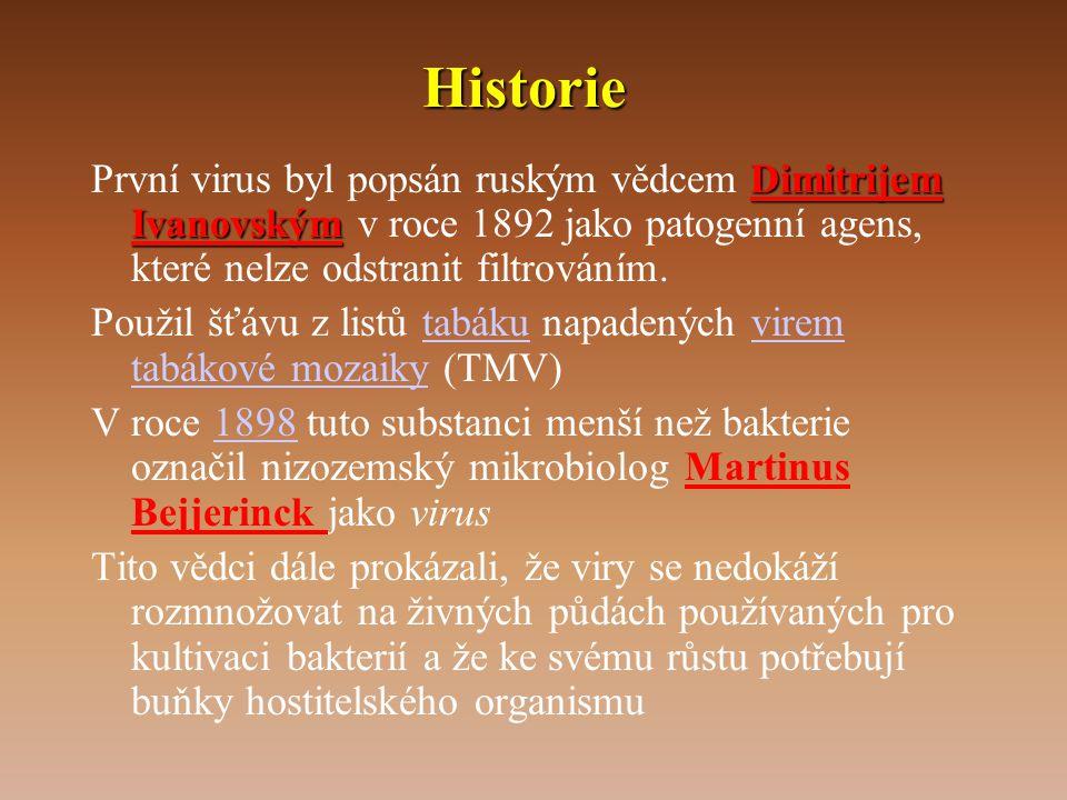 Historie Dimitrijem Ivanovským První virus byl popsán ruským vědcem Dimitrijem Ivanovským v roce 1892 jako patogenní agens, které nelze odstranit filtrováním.