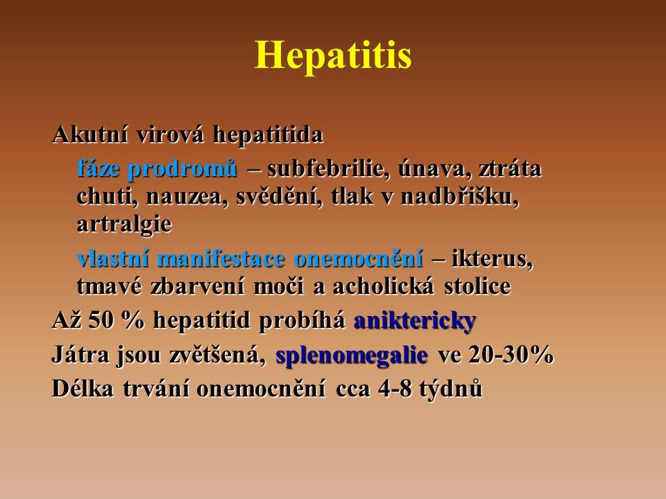 Hepatitis Akutní virová hepatitida fáze prodromů – subfebrilie, únava, ztráta chuti, nauzea, svědění, tlak v nadbřišku, artralgie vlastní manifestace onemocnění – ikterus, tmavé zbarvení moči a acholická stolice Až 50 % hepatitid probíhá aniktericky Játra jsou zvětšená, splenomegalie ve 20-30% Délka trvání onemocnění cca 4-8 týdnů