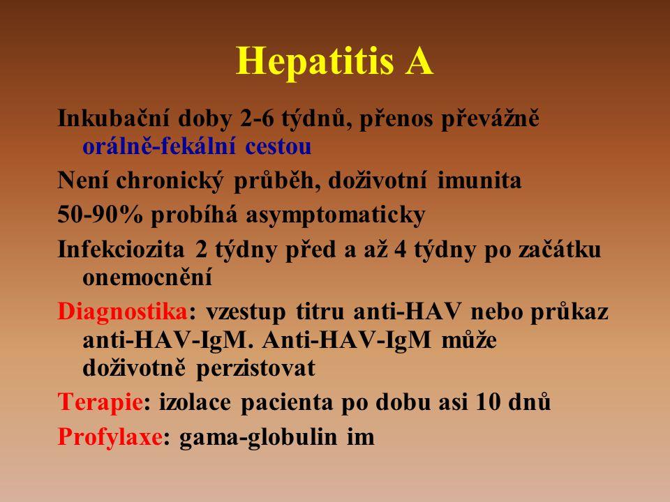 Hepatitis A Inkubační doby 2-6 týdnů, přenos převážně orálně-fekální cestou Není chronický průběh, doživotní imunita 50-90% probíhá asymptomaticky Infekciozita 2 týdny před a až 4 týdny po začátku onemocnění Diagnostika: vzestup titru anti-HAV nebo průkaz anti-HAV-IgM.