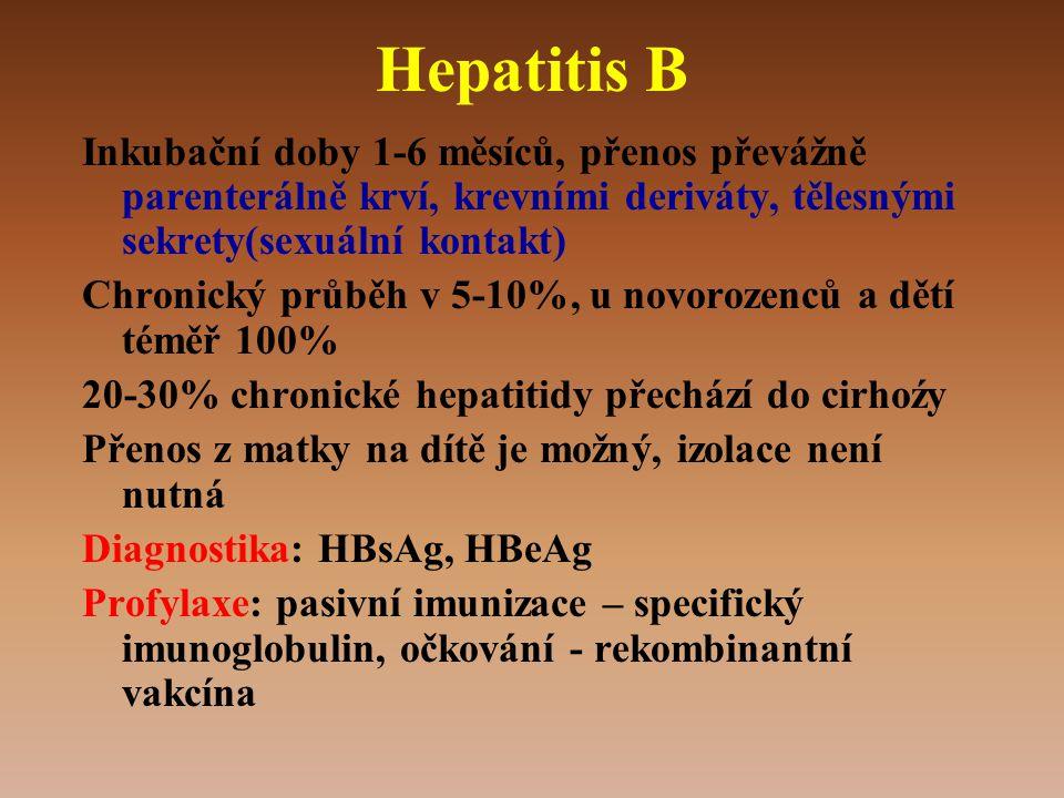 Hepatitis B Inkubační doby 1-6 měsíců, přenos převážně parenterálně krví, krevními deriváty, tělesnými sekrety(sexuální kontakt) Chronický průběh v 5-10%, u novorozenců a dětí téměř 100% 20-30% chronické hepatitidy přechází do cirhoźy Přenos z matky na dítě je možný, izolace není nutná Diagnostika: HBsAg, HBeAg Profylaxe: pasivní imunizace – specifický imunoglobulin, očkování - rekombinantní vakcína