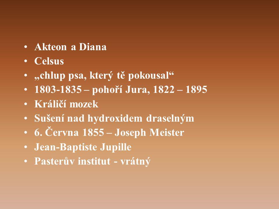 """•Akteon a Diana •Celsus •""""chlup psa, který tě pokousal •1803-1835 – pohoří Jura, 1822 – 1895 •Králičí mozek •Sušení nad hydroxidem draselným •6."""