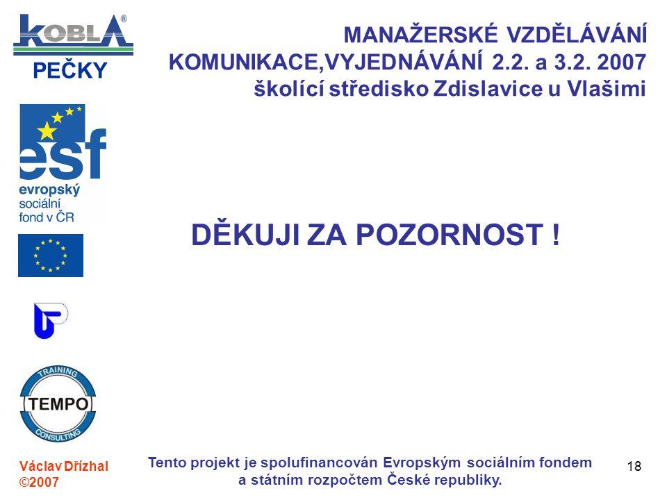 PEČKY Václav Dřízhal ©2007 Tento projekt je spolufinancován Evropským sociálním fondem a státním rozpočtem České republiky. 18 MANAŽERSKÉ VZDĚLÁVÁNÍ K