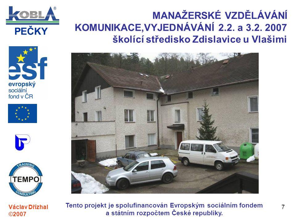 PEČKY Václav Dřízhal ©2007 Tento projekt je spolufinancován Evropským sociálním fondem a státním rozpočtem České republiky. 7 MANAŽERSKÉ VZDĚLÁVÁNÍ KO