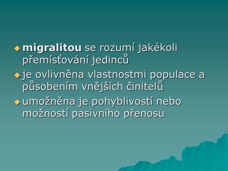  migralitou se rozumí jakékoli přemísťování jedinců  je ovlivněna vlastnostmi populace a působením vnějších činitelů  umožněna je pohyblivostí nebo