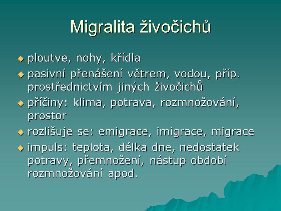Migralita živočichů  ploutve, nohy, křídla  pasivní přenášení větrem, vodou, příp. prostřednictvím jiných živočichů  příčiny: klima, potrava, rozmn