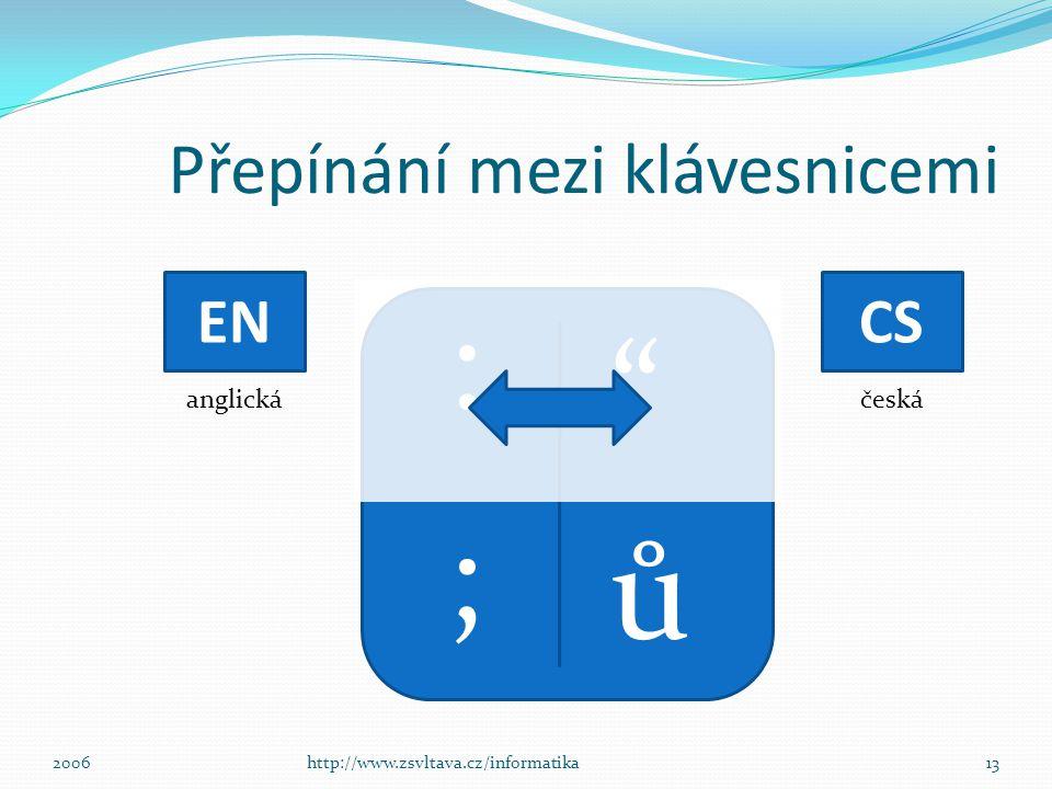 2 klávesnice v jedné 12http://www.zsvltava.cz/informatika2006 česká klávesniceanglická klávesnice