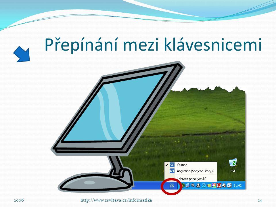 Přepínání mezi klávesnicemi ů 13http://www.zsvltava.cz/informatika2006 : ; CSEN anglickáčeská