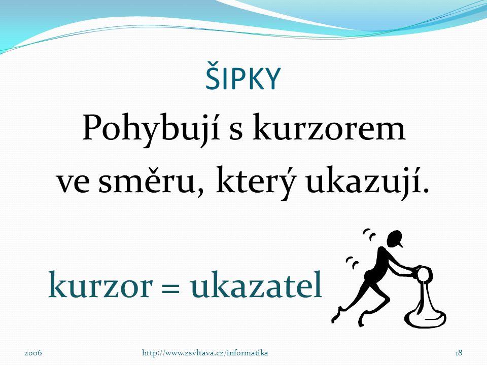 šipky, delete, insert home, end, page up, page down 17http://www.zsvltava.cz/informatika2006