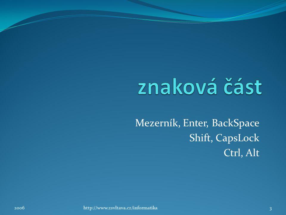 Mezerník, Enter, BackSpace Shift, CapsLock Ctrl, Alt 3http://www.zsvltava.cz/informatika2006