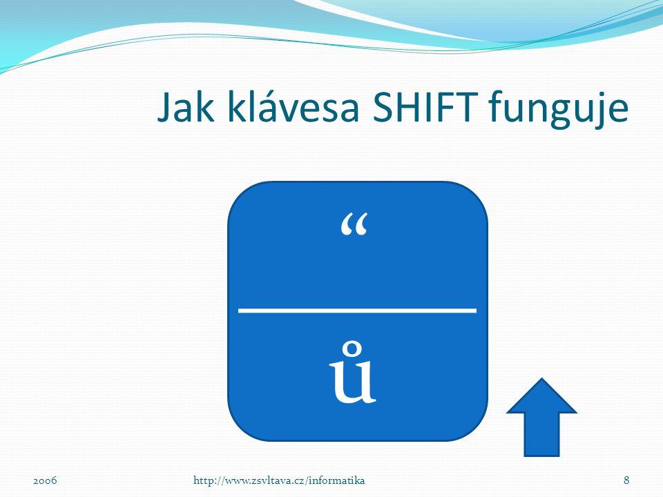 Jak klávesa SHIFT funguje ů 8http://www.zsvltava.cz/informatika2006
