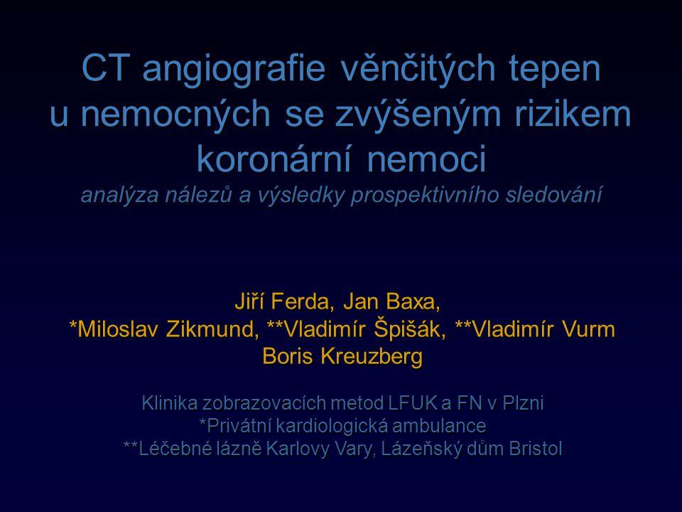 Prospektivní sledování  Jednoroční kardiovaskulární morbidita v souboru0,52%  Jednoroční mortalita1,05%  Jednoroční kardiovaskulární mortalita0,00%  Počet zátěžových scintigrafií8 (4,19%)  Počet koronarografií bez PTC4 (0,09%)  Počet koronarografií s PTC8 (4,19%)  Počet kardiochirurgických revaskularizací2 (1,05%)