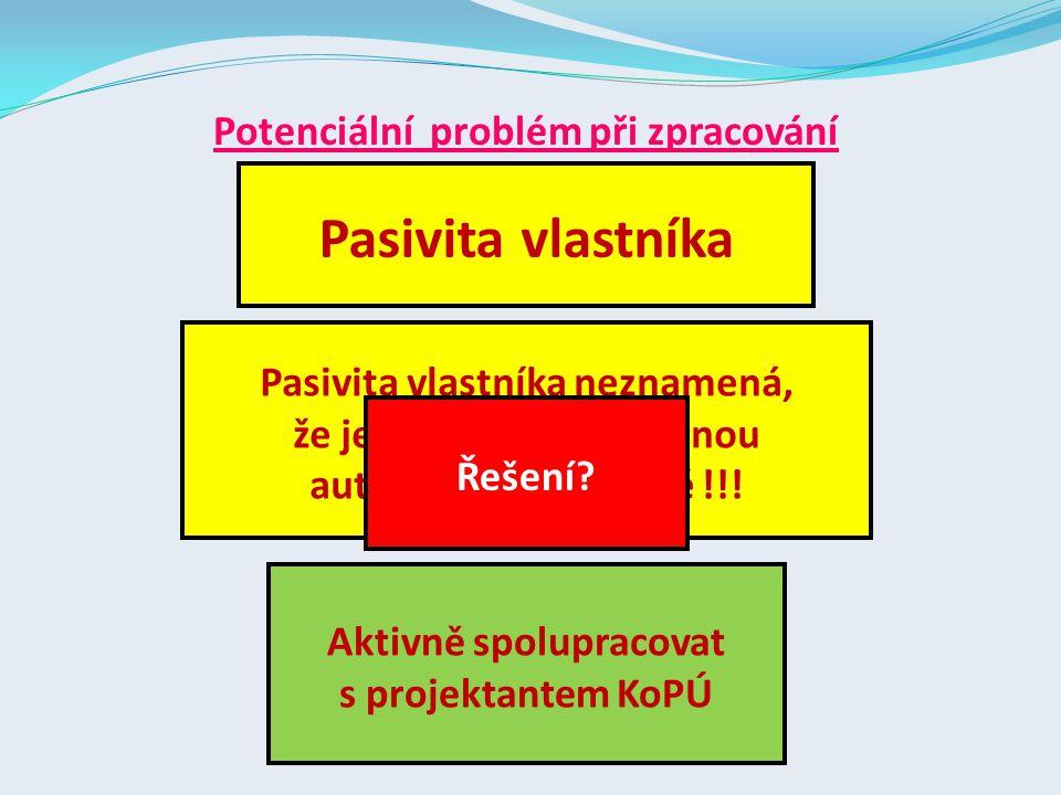 Potenciální problém při zpracování Pasivita vlastníka Pasivita vlastníka neznamená, že jeho pozemky zůstanou automaticky na místě !!.