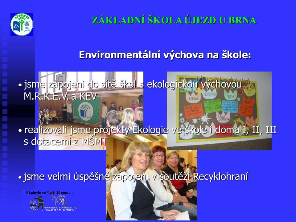 ZÁKLADNÍ ŠKOLA ÚJEZD U BRNA Environmentální výchova na škole: • jsme zapojeni do sítě škol s ekologickou výchovou M.R.K.E.V. a KEV M.R.K.E.V. a KEV •