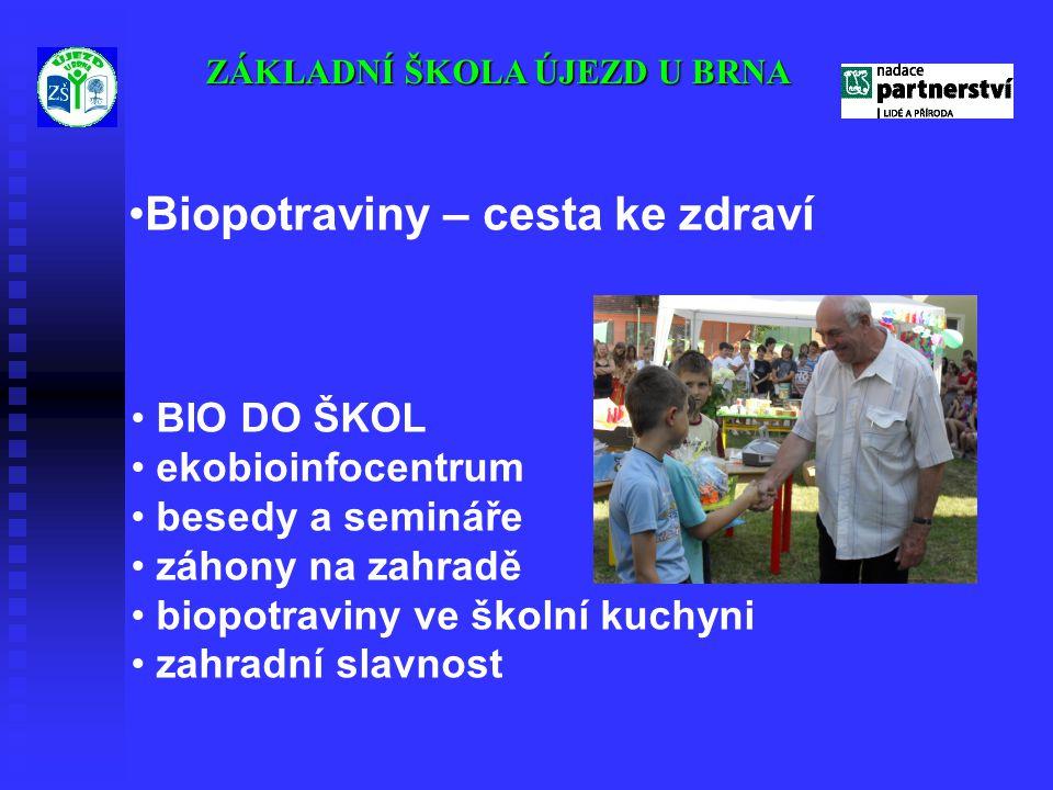 ZÁKLADNÍ ŠKOLA ÚJEZD U BRNA •Biopotraviny – cesta ke zdraví • BIO DO ŠKOL • ekobioinfocentrum • besedy a semináře • záhony na zahradě • biopotraviny v