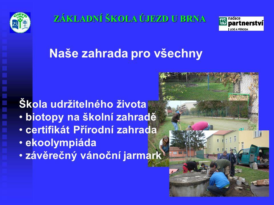 ZÁKLADNÍ ŠKOLA ÚJEZD U BRNA Škola udržitelného života • biotopy na školní zahradě • certifikát Přírodní zahrada • ekoolympiáda • závěrečný vánoční jar