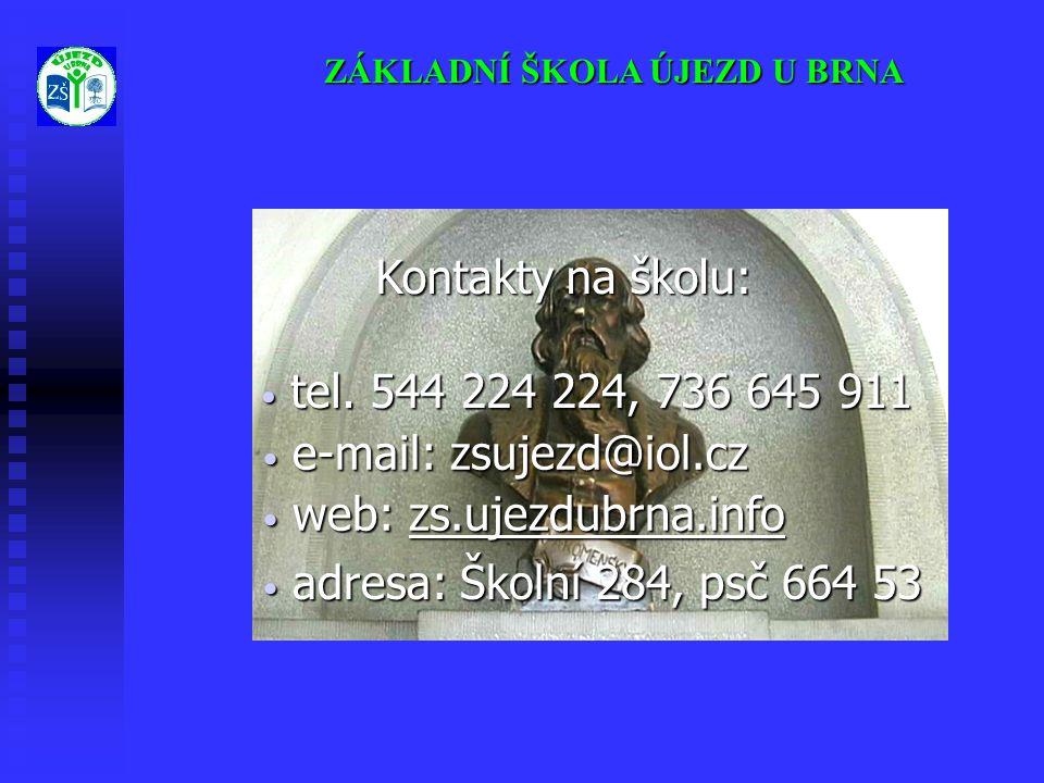 ZÁKLADNÍ ŠKOLA ÚJEZD U BRNA Kontakty na školu: • web: zs.ujezdubrna.info • e-mail: zsujezd@iol.cz • tel. 544 224 224, 736 645 911 • adresa: Školní 284