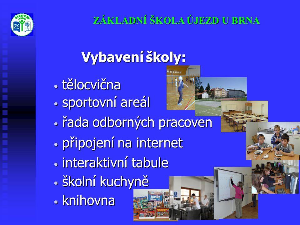 ZÁKLADNÍ ŠKOLA ÚJEZD U BRNA Vybavení školy: Vybavení školy: • připojení na internet • řada odborných pracoven • sportovní areál • tělocvična • interak