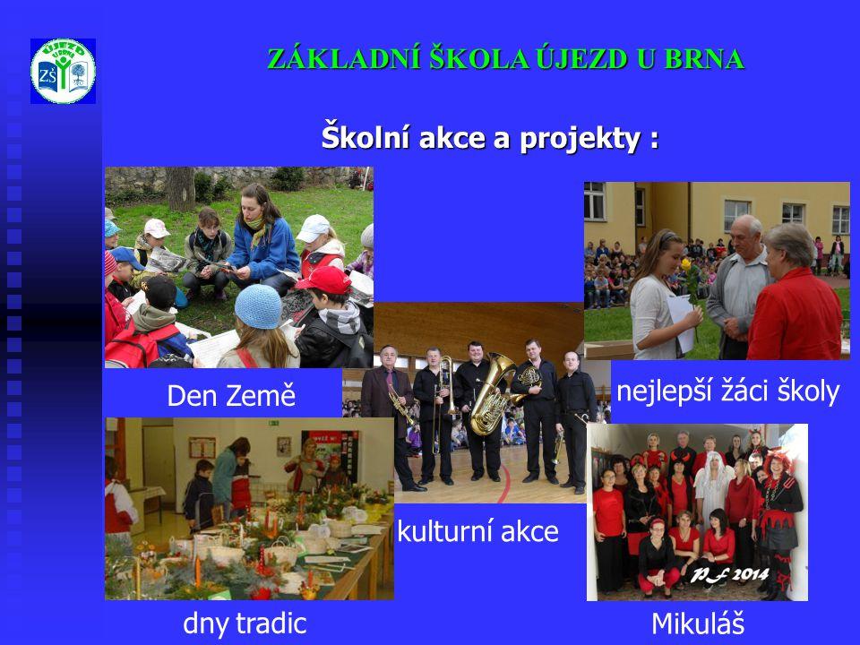 kulturní akce Mikuláš ZÁKLADNÍ ŠKOLA ÚJEZD U BRNA Školní akce a projekty : dny tradic nejlepší žáci školy Den Země