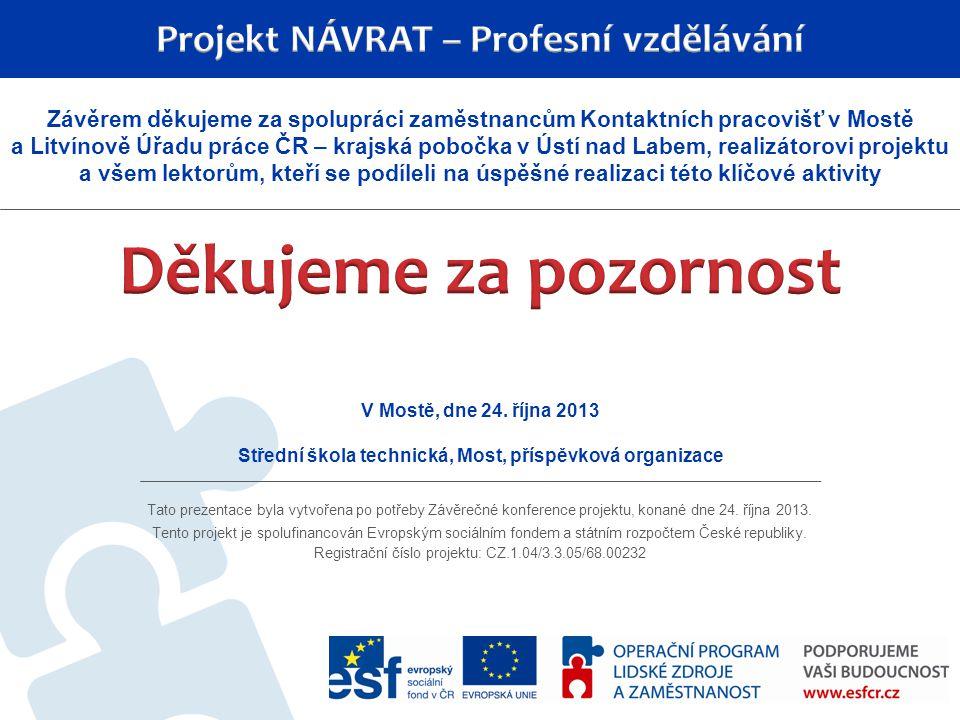 Tato prezentace byla vytvořena po potřeby Závěrečné konference projektu, konané dne 24. října 2013. Tento projekt je spolufinancován Evropským sociáln