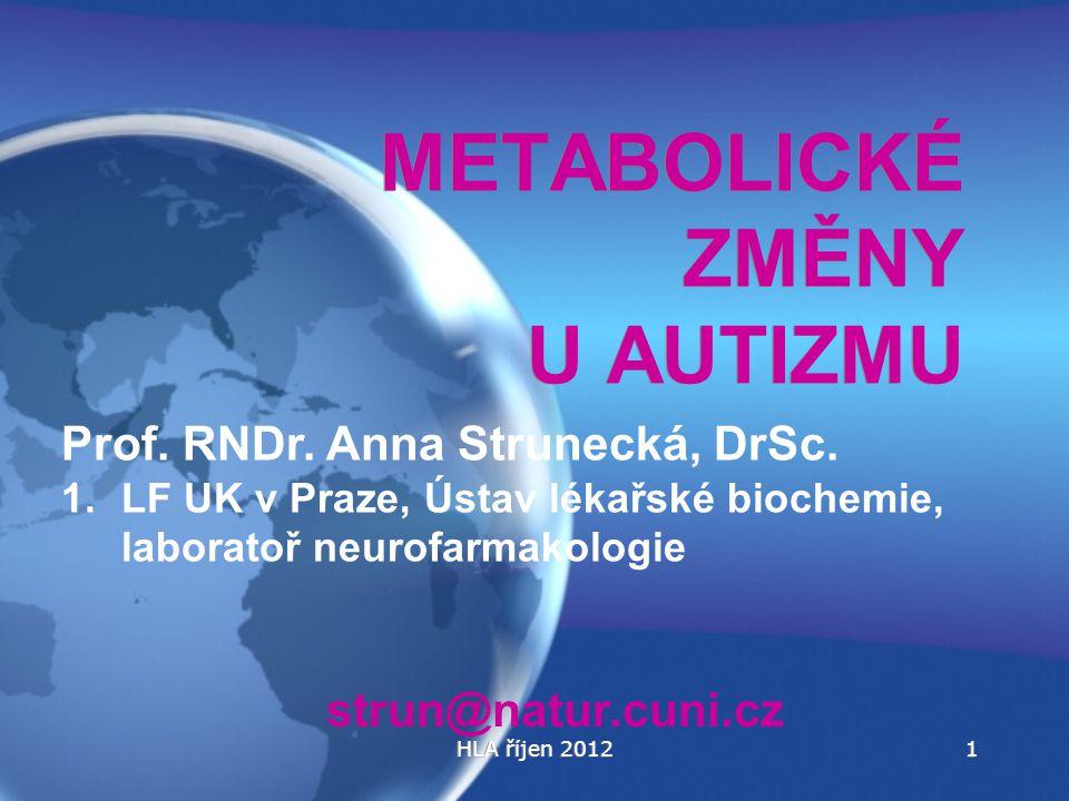HLA říjen 20121 METABOLICKÉ ZMĚNY U AUTIZMU Prof. RNDr. Anna Strunecká, DrSc. 1.LF UK v Praze, Ústav lékařské biochemie, laboratoř neurofarmakologie s