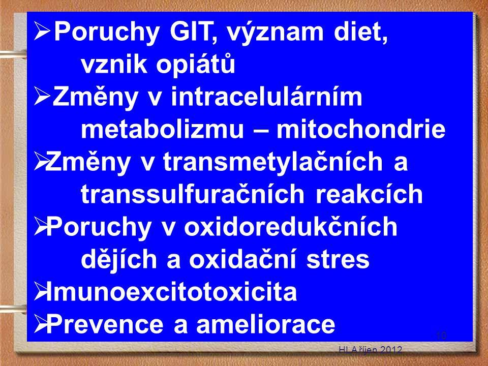  Poruchy GIT, význam diet, vznik opiátů  Změny v intracelulárním metabolizmu – mitochondrie  Změny v transmetylačních a transsulfuračních reakcích