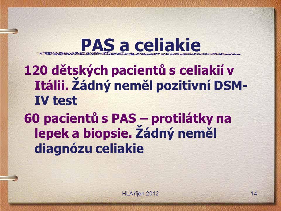 HLA říjen 2012 PAS a celiakie 120 dětských pacientů s celiakií v Itálii. Žádný neměl pozitivní DSM- IV test 60 pacientů s PAS – protilátky na lepek a