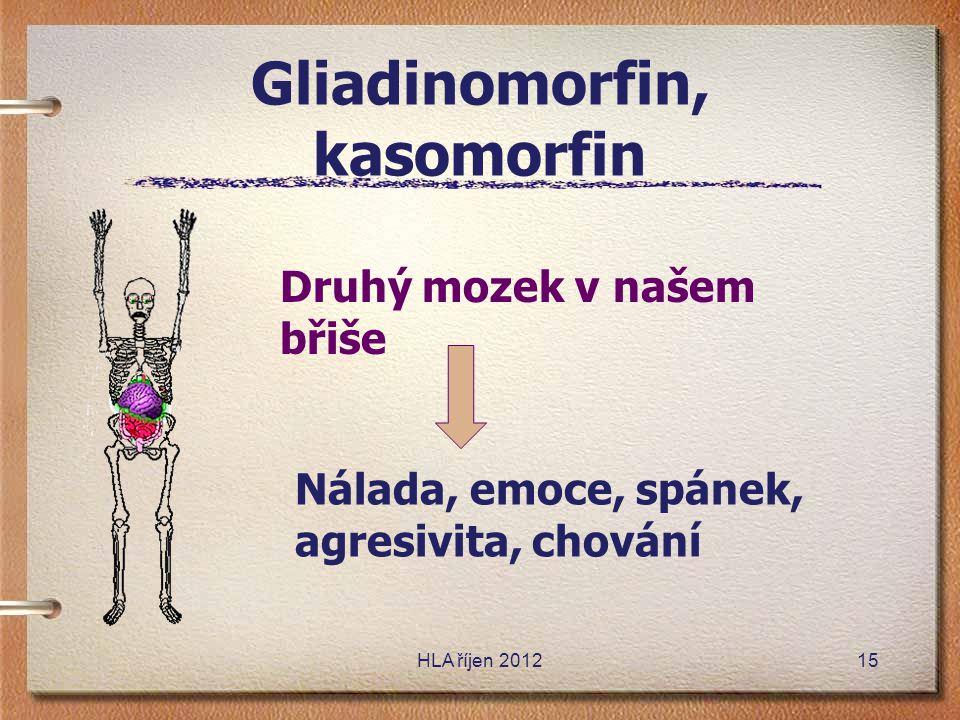 Gliadinomorfin, kasomorfin HLA říjen 201215 Druhý mozek v našem břiše Nálada, emoce, spánek, agresivita, chování