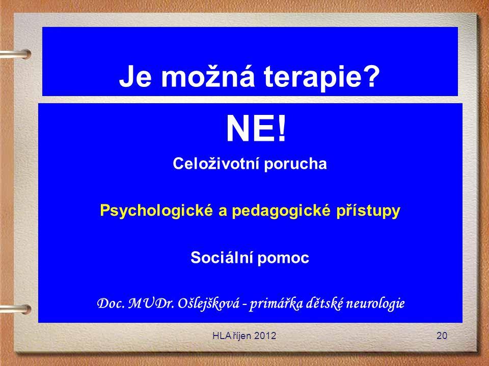 Je možná terapie? NE! Celoživotní porucha Psychologické a pedagogické přístupy Sociální pomoc Doc. MUDr. Ošlejšková - primářka dětské neurologie HLA ř