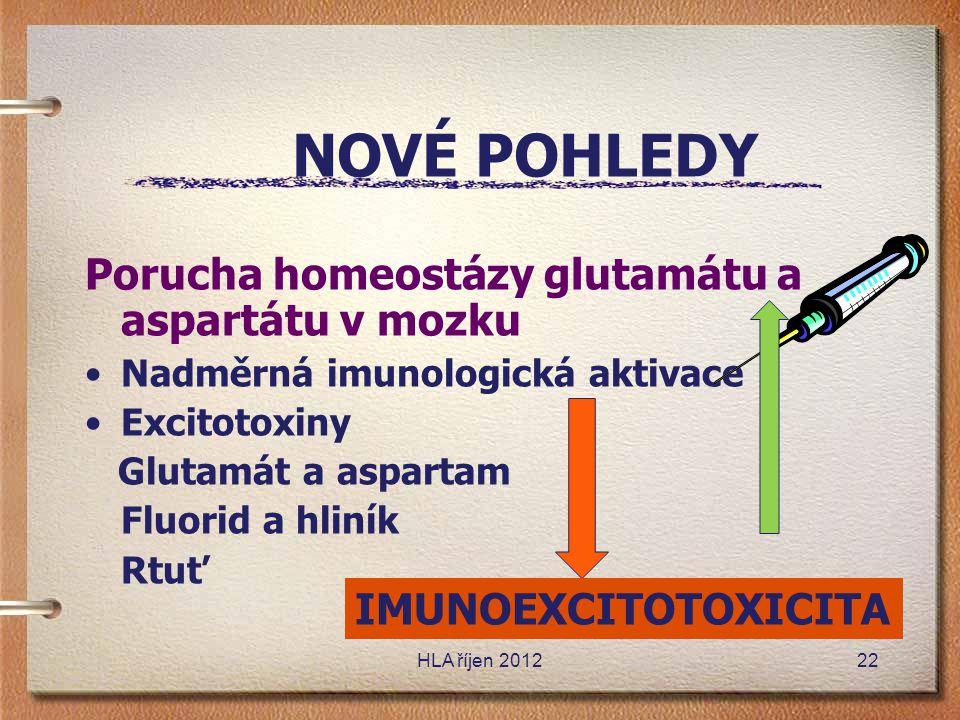 NOVÉ POHLEDY Porucha homeostázy glutamátu a aspartátu v mozku •Nadměrná imunologická aktivace •Excitotoxiny Glutamát a aspartam Fluorid a hliník Rtuť