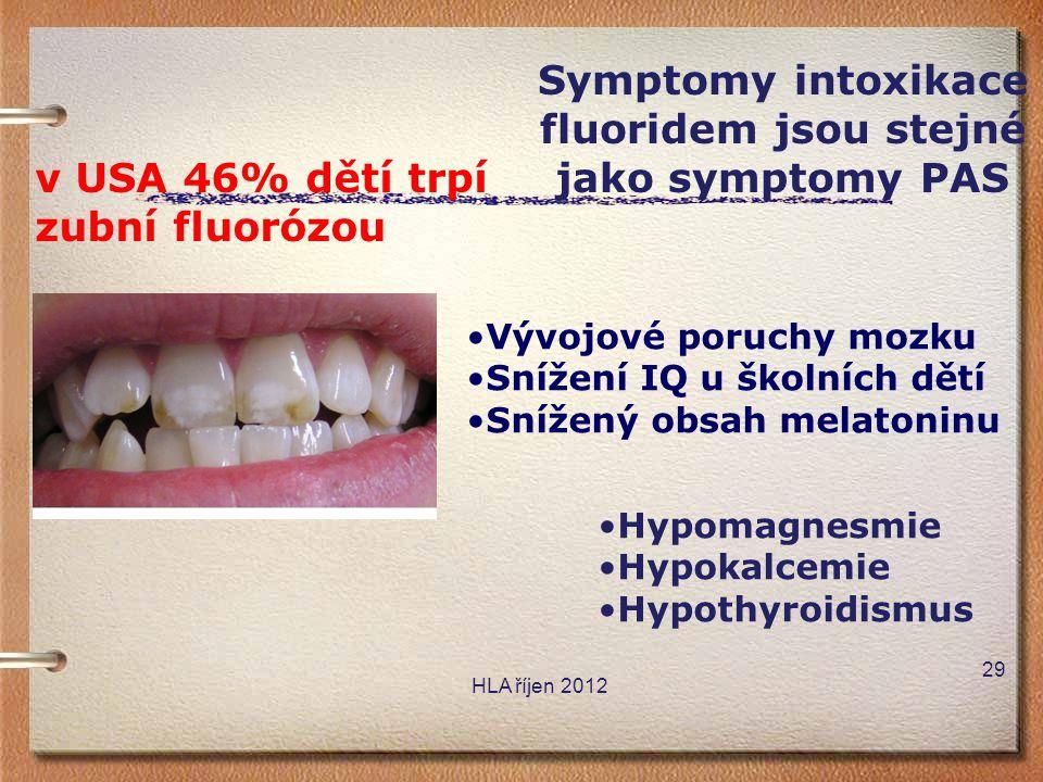HLA říjen 2012 v USA 46% dětí trpí zubní fluorózou •Vývojové poruchy mozku •Snížení IQ u školních dětí •Snížený obsah melatoninu Symptomy intoxikace f