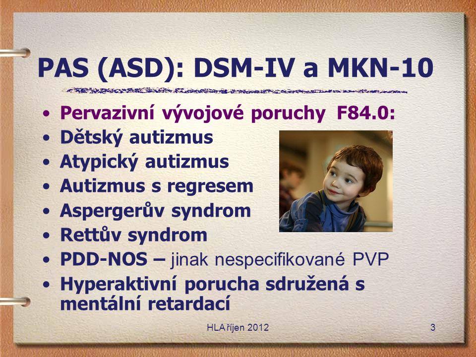 PAS (ASD): DSM-IV a MKN-10 •Pervazivní vývojové poruchy F84.0: •Dětský autizmus •Atypický autizmus •Autizmus s regresem •Aspergerův syndrom •Rettův sy