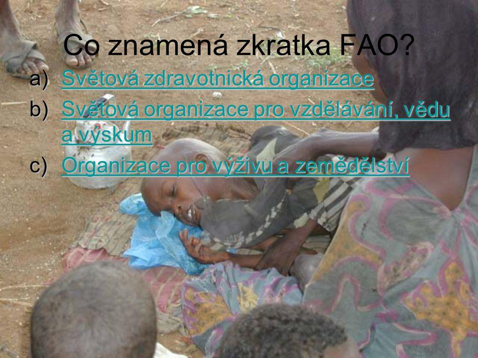 Co znamená zkratka FAO.